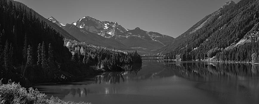 Duffey Lake And Mount Rohr British Columbia Canada Black White by Steve Gadomski