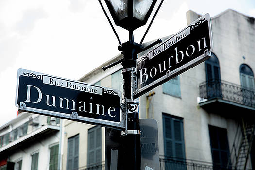 Dumaine And Bourbon - Street Sign at Intersection in New Orleans French Quarter by Southern Plains Photography