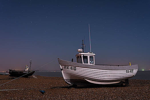 Dungeness Fishing Boats At Night by David Attenborough