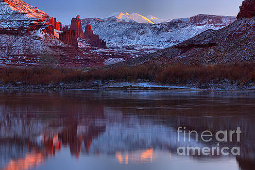Dusk At Fisher Towers by Adam Jewell