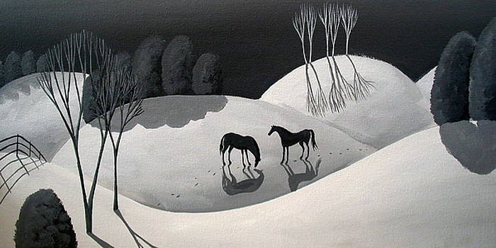 Dusk - black and white landscape by Debbie Criswell