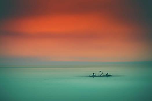 Dusk on the lake by Marji Lang