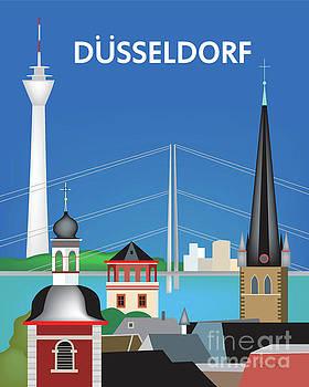 Dusseldorf,  Rheinturm Tower, Germany Vertical Scene by Karen Young