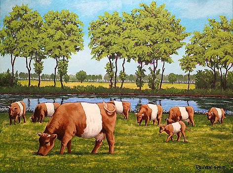 Dutch Landscape with Lakenvelder Cows by Reuven Gayle