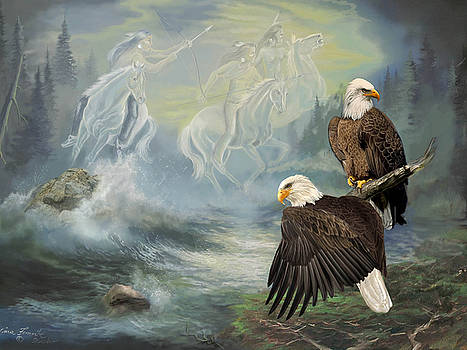 Eagels and Native American  Spirit Riders by Regina Femrite