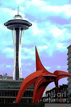 Eagle and Space Needle Seattle by Yulia Kazansky