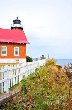 Eagle Harbor Lighthouse Overlooking Lake Superior by Terri Gostola