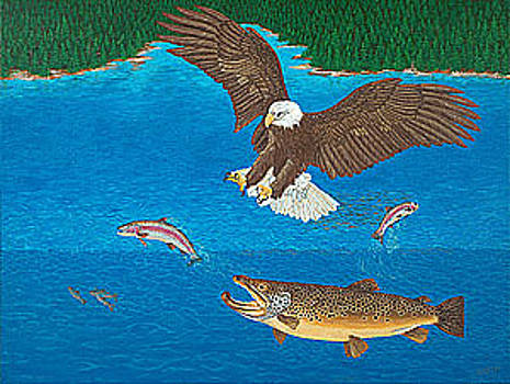 Baslee Troutman - Eagle Trophy Brown Trout Rainbow Trout Art Print Blue Mountain Lake Artwork Giclee Birds Wildlife