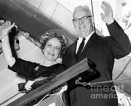 Earl Warren and his wife, an American jurist and politician who stood as favorite candidate in 1952. by Barney Stein
