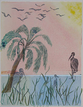 Early Morning Migration - Monotype by Libby  Cagle