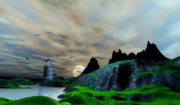 Early morning ocean Lighthouse scene by John Junek