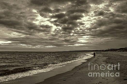 Early Morning Walk On Virginia Beach by Jeff Breiman