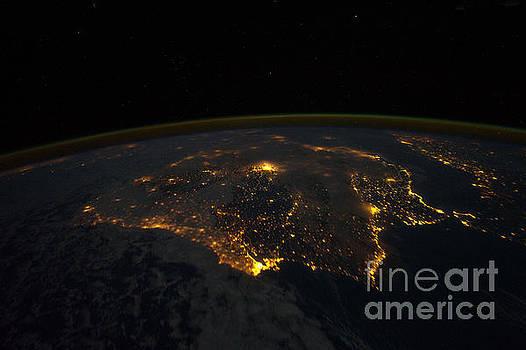 R Muirhead Art - Earth orbiting International Space Station photographed this night time scene of the Iberian Peninsu
