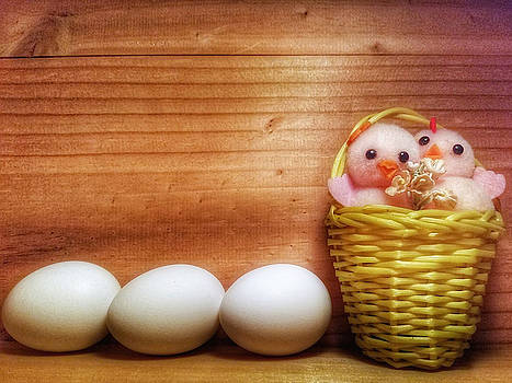 Easter Basket of Pink Chicks with Eggs by Mary Capriole