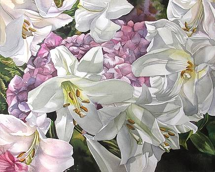 Alfred Ng - easter lilies with hydrangea