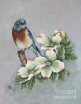 Cindy Treger - Eastern Bluebird and Dogwood - Acrylic Painting