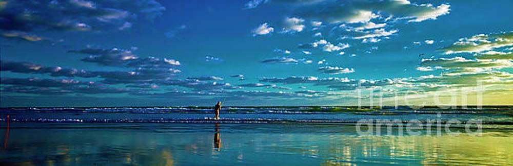 Eastern Florida coast morning surf fishing  by Tom Jelen