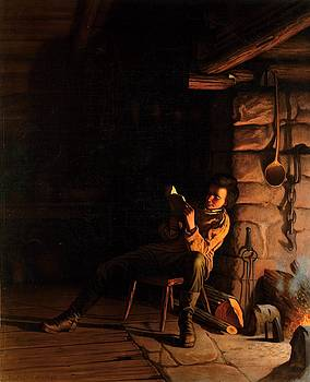 Eastman Johnson, The boyhood of Lincoln, an evening in the log hut, 1868 by Vintage Printery