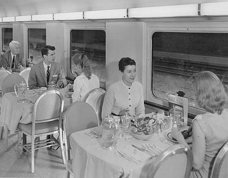 Chicago and North Western Historical Society - Eating in Dining Car Rebuilt for Bilevel Equipment - 1958