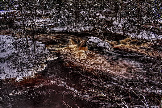 Dale Kauzlaric - Eau Claire River Through Snow Covered Islands