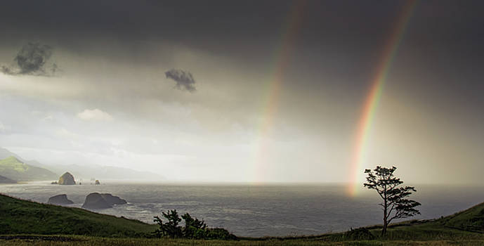 Ecola Double-Rainbow by Don Schwartz