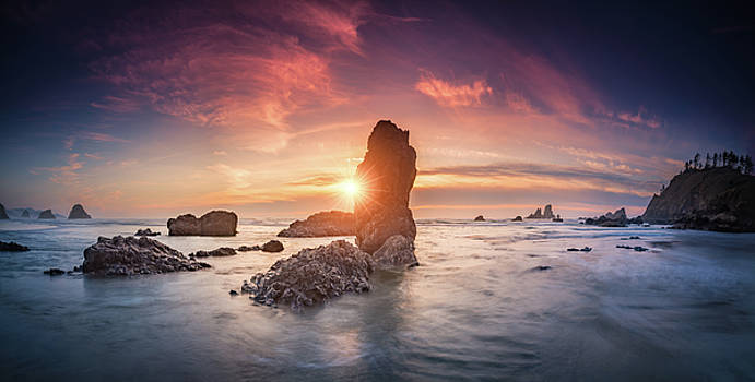 Ecola State Park beach sunset pano by William Lee