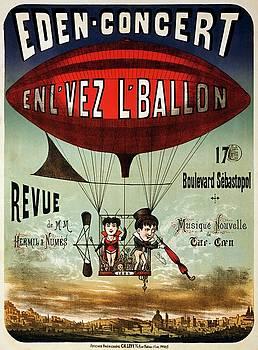 Eden-concert, enlvez lballon, performing arts poster, 1884 by Vintage Printery