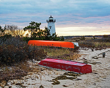 Edgartown Lighthouse Boats on the Beach Edgartown MA Cape Cod Marthas Vineyard by Toby McGuire