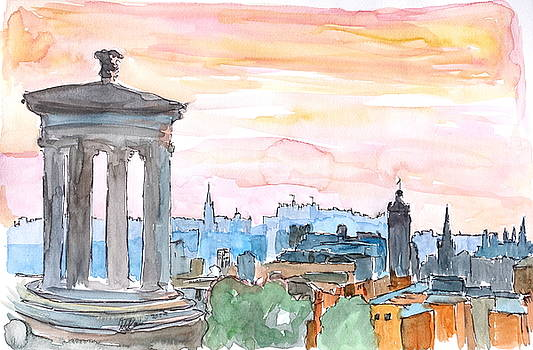 Edinburgh Scotland Skyline at Dusk by M Bleichner