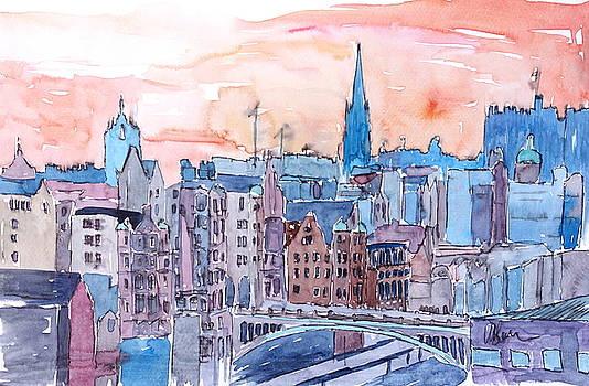 Edinburgh Sunset Over Old Town Scotland - by M Bleichner