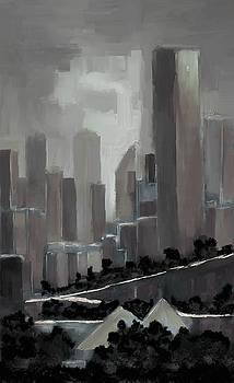 Edmonton Skyline Abstract Painting by Eduardo Tavares