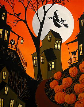 Eerie Evening - Halloween witch art by Debbie Criswell