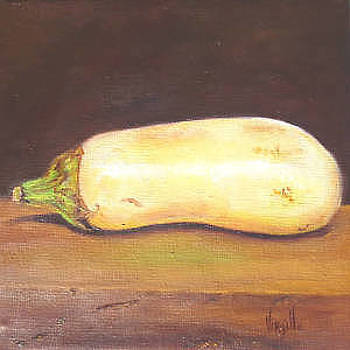 Eggplant paintings - White Eggplant - Virgilla Art by Virgilla Lammons