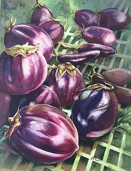 Eggplants In Open Market by Judith Hallbeck Meyeraan