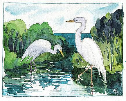Egret Pair by Catinka Knoth