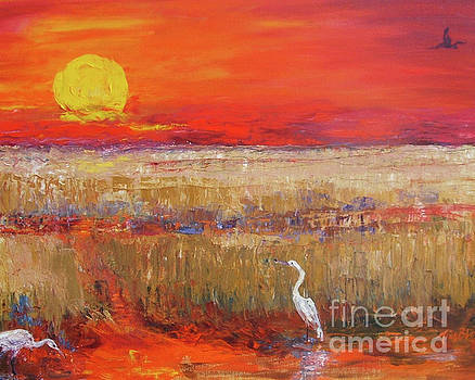Egrets at Sunset by Doris Blessington