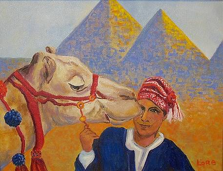 Egyptian Boy with Camel by Lore Rossi