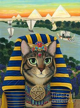 Egyptian Pharaoh Cat - King of Pentacles by Carrie Hawks