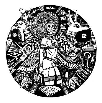 Egyptian Warrior Goddess Solaire Line Drawing by Kenal Louis