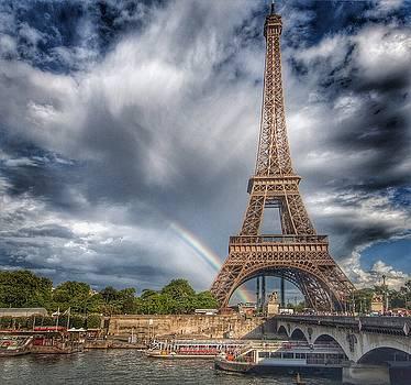 Eiffel Tower and Rainbow by Karen Hermann