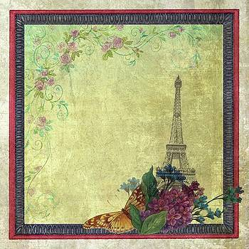 Eiffel Tower Faded Floral with Swirls by Judith Cheng
