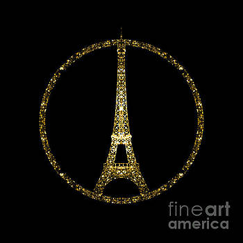 Eiffel Tower gold glitter sparkles on black by PLdesign