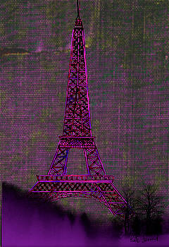 Eiffel Tower in pink by Kate Farrant