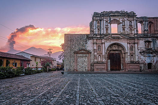 El Fuego Sunset and Old Architecture in Antigua by Daniela Constantinescu