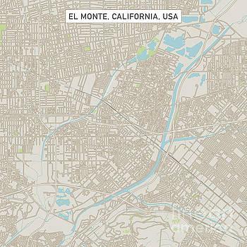 El Monte California US City Street Map by Frank Ramspott