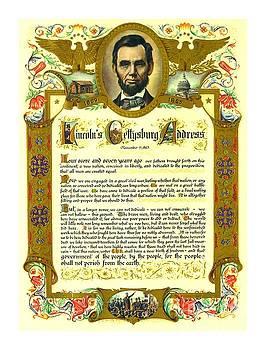 Peter Ogden - Elaborate Victorian Gettysburg Address Illuminated Manuscript with Lincoln Portrait