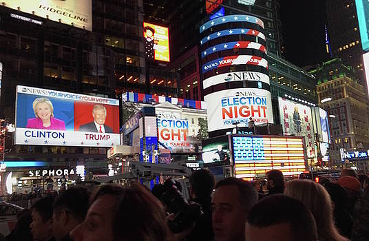 Election Night in Times Square 2016 by Melinda Saminski