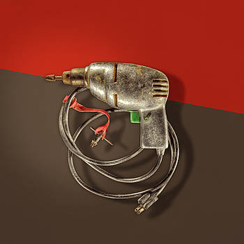 Electric Drill Motor, Green Trigger on Colored Paper by YoPedro