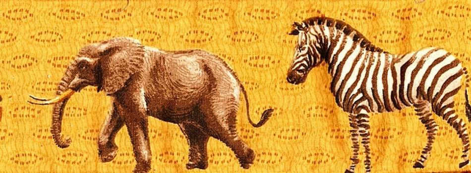 Elephant and Zebra by Anne-elizabeth Whiteway
