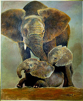 Elephant familly by Peter Kulik